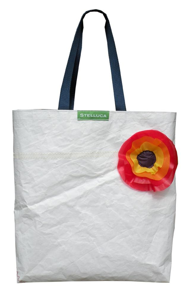 Upcycled Sailcloth Tote with upcycled spinnaker flower