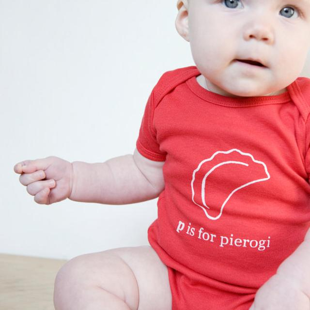 P is for Pierogi: Hand Screen-printed Baby Onesie