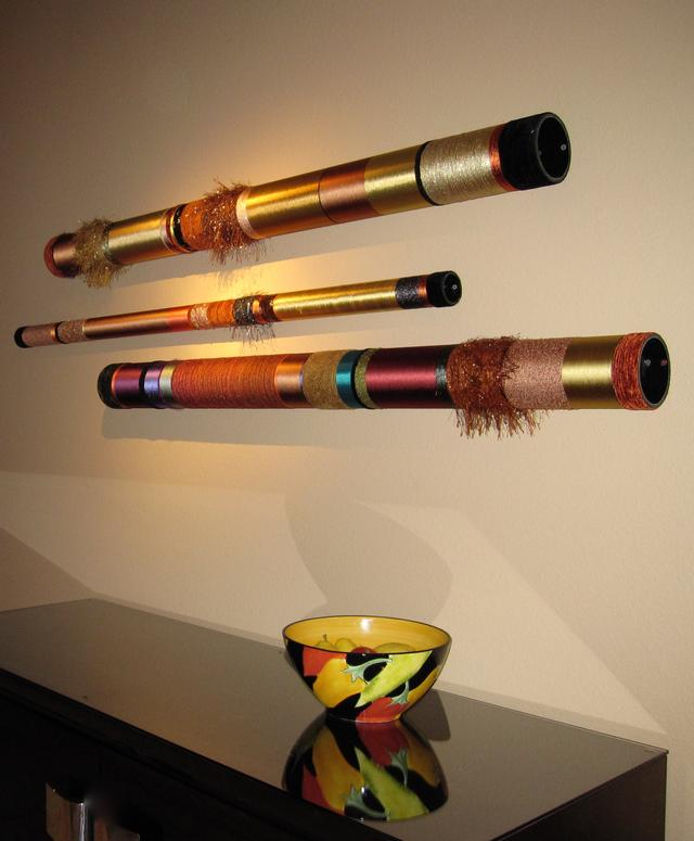 These horizontal Quiet Oboes add color to the space with grace and simplicity