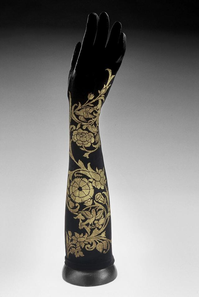 Hand screen-printed metallic gold on black stretch velvet elbow length gloves