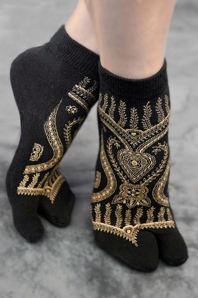 Hand screen-printed metallic gold on black cotton/lycra tabi socks